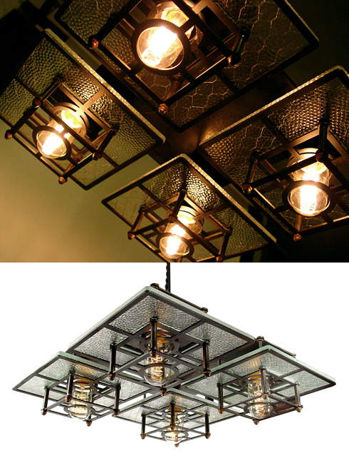 When Daniel Marc Erenberg introduced his new collection of industrial wire glass lighting it was met with rave reviews. This four light Frank Lloyd Wright ...  sc 1 st  Early Electrics & Eren Berg Studios Introduces Itu0027s New Frank Lloyd Wright inspired ...