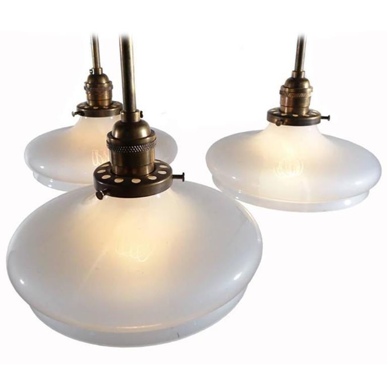 Elegant Three Light Vaseline Glass Chandelier Early